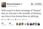 Dawkins tweet on abortion