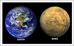 Image of Planet Earth and Mars